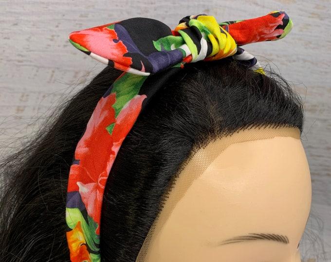 Hawaiian Ginger - Bird of Paradise - Pin Up Style Tie Knot Headband with Removable Bow- Hair Wrap - Aloha  Hawaiian Tropical - Floral Print