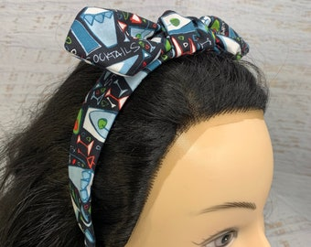 It's Martini Time - Pin Up Style Tie Knot Headband with Removable Bow - Hair Wrap - Cotton Headband - Cocktails - Retro Style