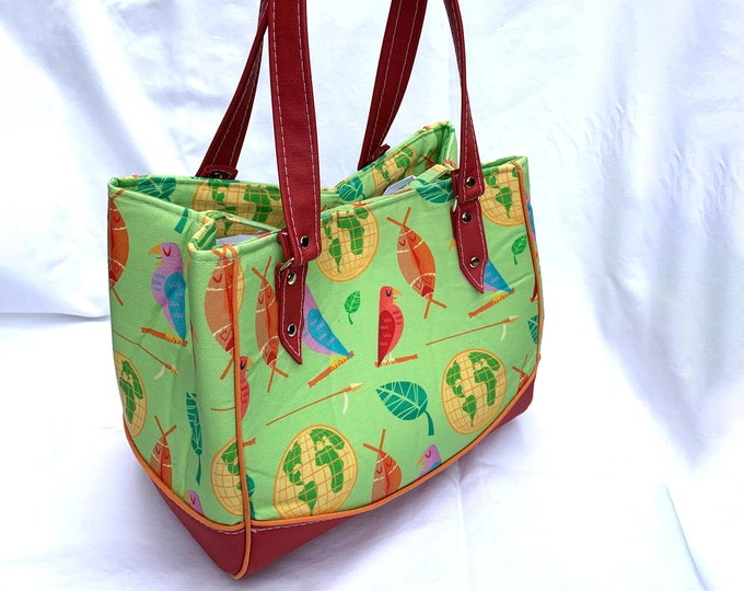 MidCentury Adventureland by Dapper Dino - Vinyl Shoulder Bag - Handbag - Purse - Bag - Vegan Leather