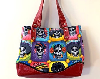 La Señoras Elegantes La Calavera Catrina - Glitter Vinyl Shoulder Bag - Handbag - Purse - Bag