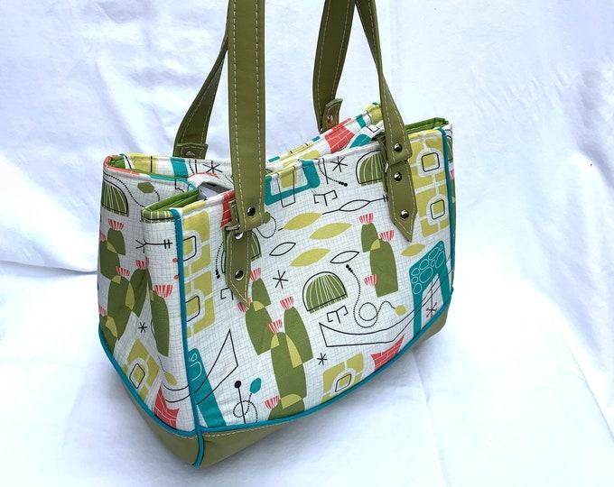 Southwest Desert MidCentury Modern - Vinyl Shoulder Bag - Handbag - Purse - Bag - Vegan Leather