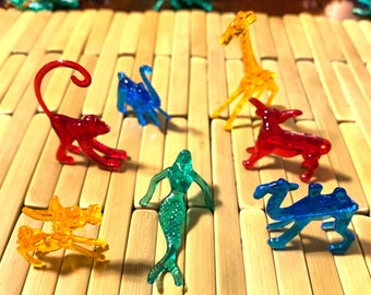 Cocktail Animals - Acrylic Plastic Drink Markers - Vintage 2000s - Asst. Colors - Mermaid Monkey Giraffe Elephant Donkey Camel Steer Squid