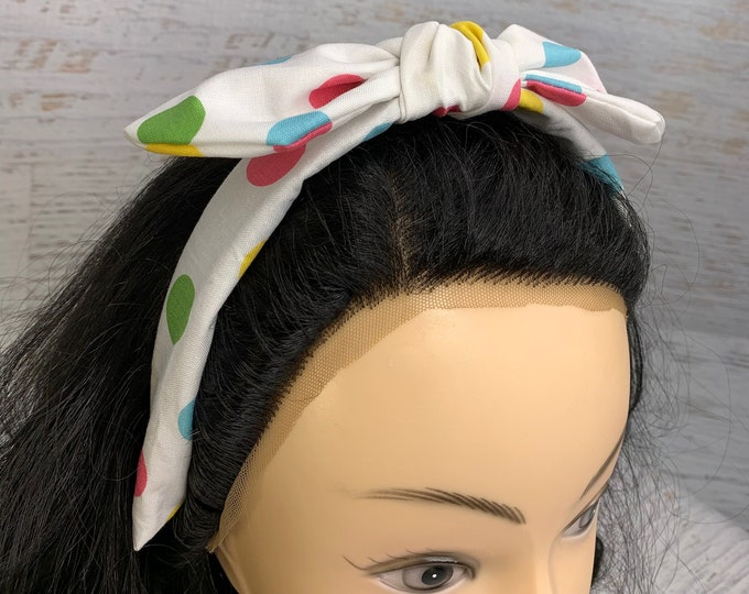 Rock the Dots - Pastel Polka Dots - Pin Up Style Tie Knot Headband with Removable Bow - Hair Wrap - Cotton - Retro- mid century modern MCM