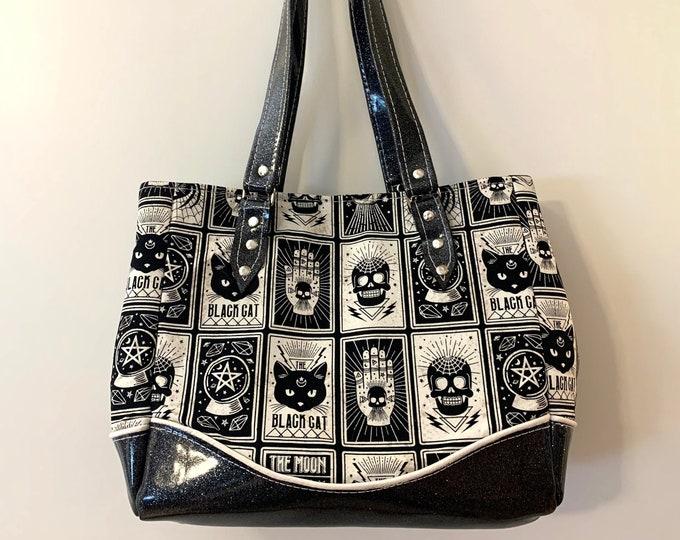 Black Magic Tarot Cards - Glitter Vinyl Shoulder Bag - Handbag - Purse - Bag