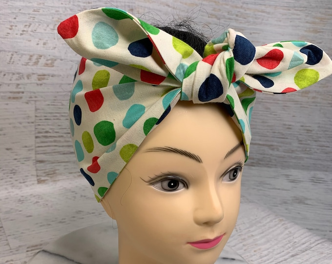 Rock the Dots - Winter Polka Dots - Pin Up Style Wide Head Scarf - Hair Wrap - Cotton - Retro - Vintage Style - mid century modern