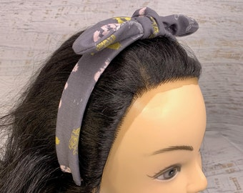 Mary Poppins - Pin Up Style Tie Knot Headband with Removable Bow - Hair Wrap - Cotton Headband
