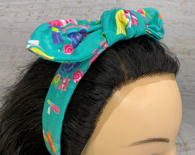 Jeff Granito - Alice In Wonderland - Pin Up Style Tie Knot Headband with Removable Bow- Hair Wrap - Cotton Headband - Retro Style