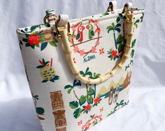 Tote Bag Purse Handbag - Mid Century Tiki Resort