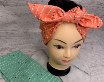 Mod MCM Polka Dots - Red or Green - Pin Up Style Wide Head Scarf - Hair Wrap - Cotton - Retro - Vintage Style - mid century modern