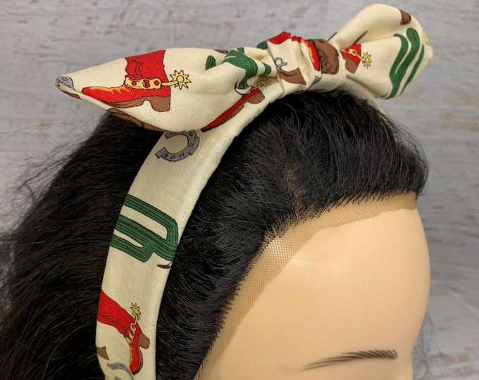 Western Desert Cowboy - Pin Up Style Tie Knot Headband with Removable Bow - Hair Wrap - Cotton - Country Western - Retro - Rockabilly