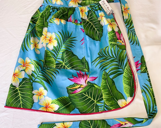 Half Apron - Vintage Pin Up Skirt Style - Hawaiian Print Blue Bird of Paradise
