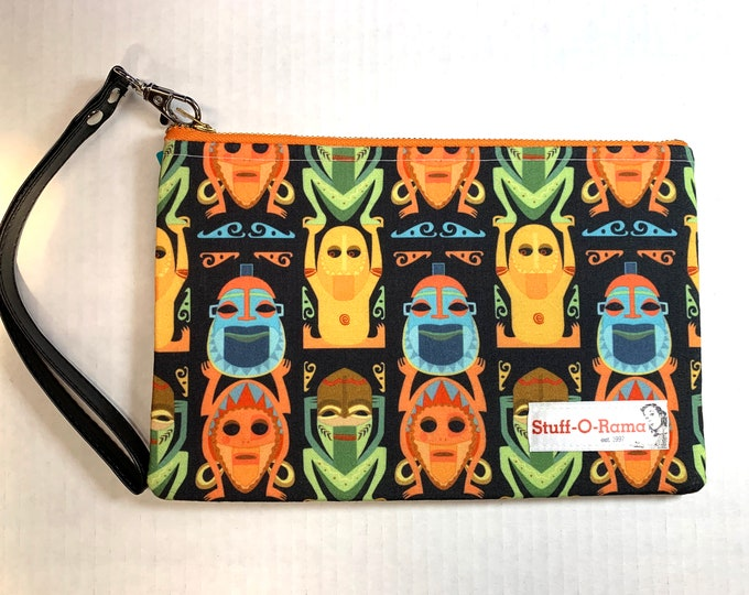 Wristlet Zipper Pouch Clutch Purse - Tiki Room Totem