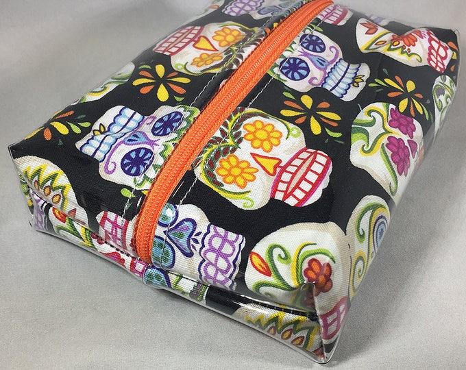 Make Up Bag - Day of the Dead Sugar Skulls (Black) Box Shaped Cosmetic Bag