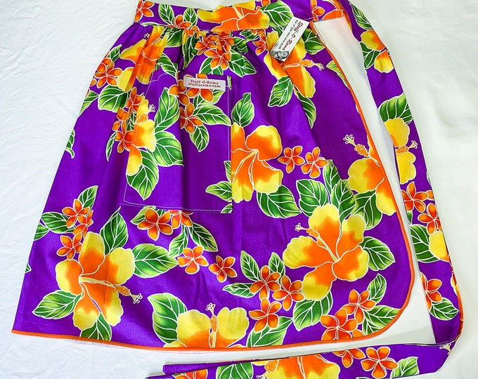 Half Apron - Vintage Pin Up Skirt Style - Purple Orange Yellow Hibiscus Plumeria