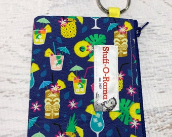 Hawaiian Summer Cocktails - Cotton Canvas - Coin Purse - Keychain - Wallet - Key Fob - Key Ring - Aloha Print - Hawaiian Print