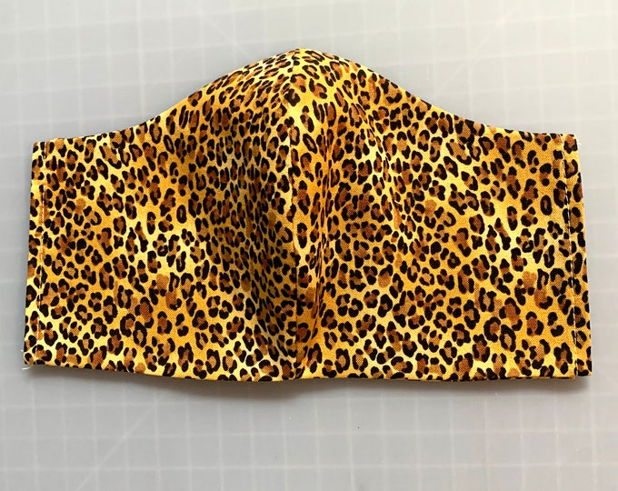 Leopard - Cheetah - Animal Print - Face Masks - 100% Cotton - Washable With Filter Pockets - Nose Wire - Ties or Elastic
