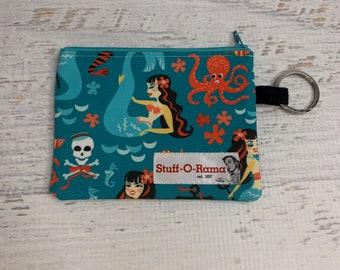 Retro Rockabilly Sirens - Mermaids - Cotton Canvas - Coin Purse - Keychain - Wallet - Key Fob - Key Ring - Aloha Print - Hawaiian Print