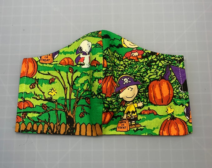 Great Pumpkin Charlie Brown - Halloween - Face Mask Coverings - 100% Cotton - Washable With Filter Pockets - Nose Wire - Ties or Elastic