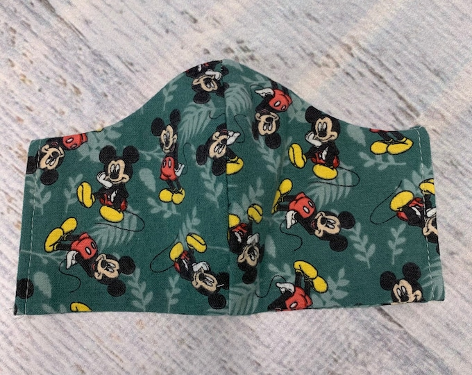 FLANNEL Face Mask Coverings - Mickey Mouse - 100% Cotton - Washable With Filter Pockets - Nose Wire - Ties or Elastic