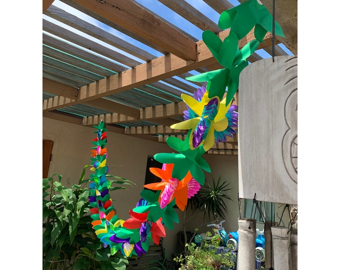 Tissue Paper Orchid Flower Garland - Perfect for Luaus - Summer Party - Tiki Bar
