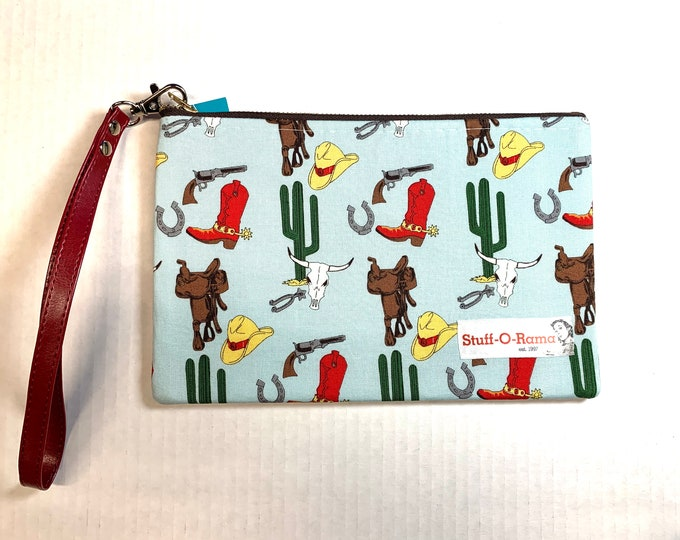 Wristlet Zipper Pouch Clutch Purse - Retro Vintage Cowboy and Western Desert