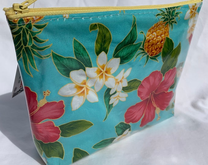Tropical Flowers - Blue - Hibiscus Plumeria Pineapple - Makeup Bag - Hawaiian Aloha Print
