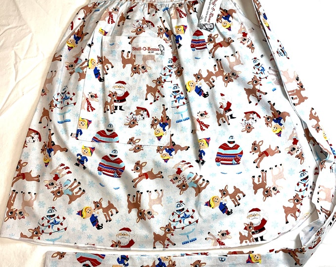 Half Apron - Vintage Pin Up Skirt Style - Rudolph and Friends