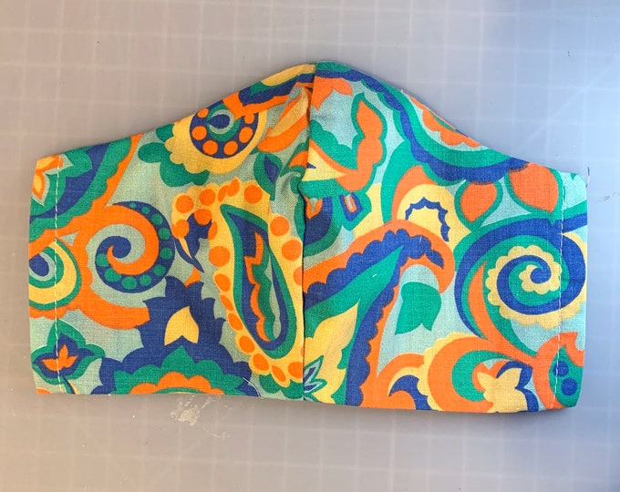 70s Paisley - Face Masks - 100% Cotton - Washable With Filter Pockets - Nose Wire