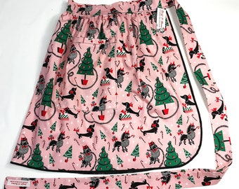 Half Apron - Vintage Pin Up Skirt Style - Christmas Dogs