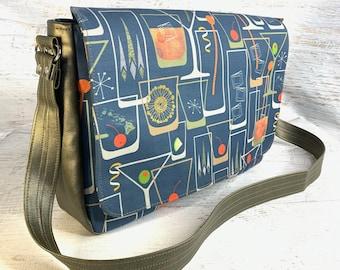 Retro 50s Cocktail Bar - Messenger Bag - Crossbody - MCM - Laptop Bag - Padded Interior - Canvas - Vegan Leather