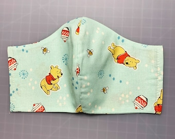 Winnie The Pooh - Hunny - Face Mask Coverings - 100% Cotton - Washable With Filter Pockets - Nose Wire - Ties or Elastic