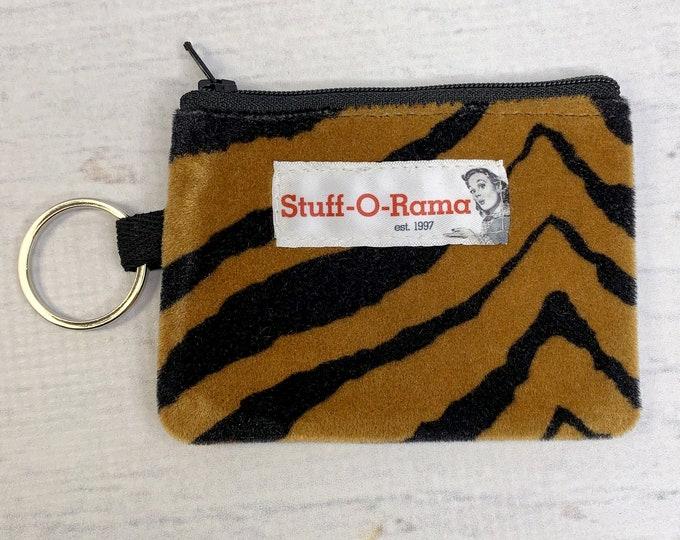 Tiger Stripes - Faux Fur - Coin Purse - Keychain - Wallet - Key Fob - Key Ring  - Tiger King