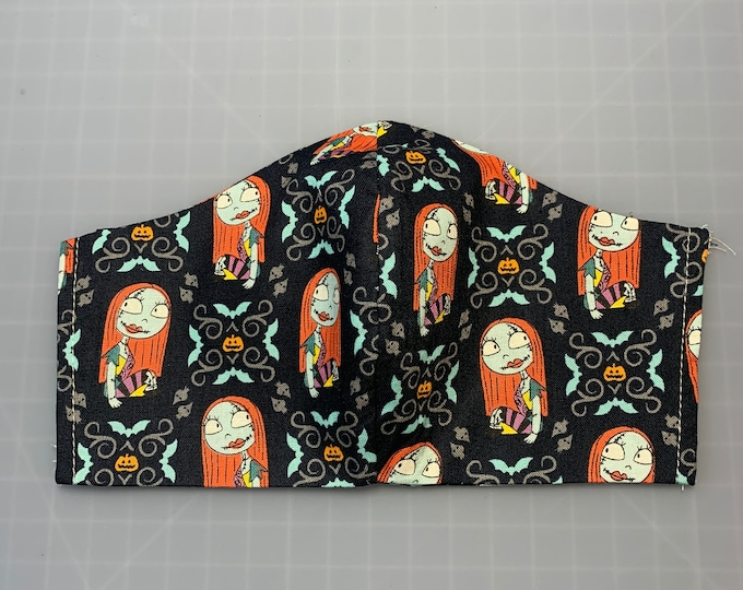 Nightmare Before Christmas - Sally - Black - Face Mask Coverings - 100% Cotton - Washable With Filter Pockets - Nose Wire - Ties or Elastic