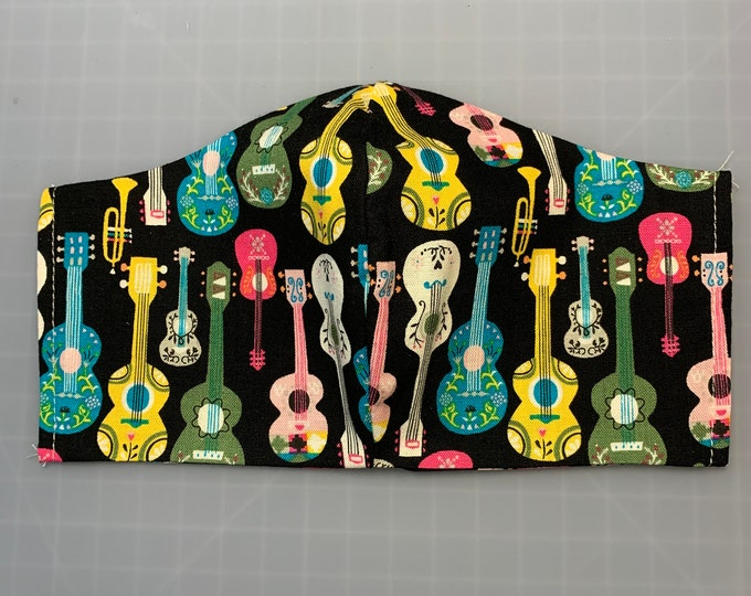 Guitarras de México - Black Acoustic Guitar - Face Mask Coverings - 100% Cotton - Washable With Filter Pockets - Nose Wire - Ties or Elastic