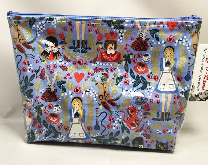 Make Up Bag - Alice In Wonderland Blue Zipper Pouch