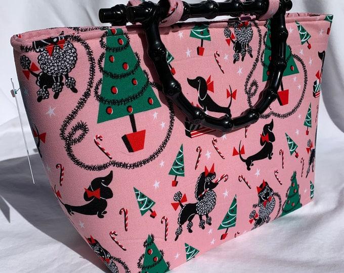 Christmas Dachshunds and Poodles in Pink - Tote Bag - Purse - Handbag - Bag