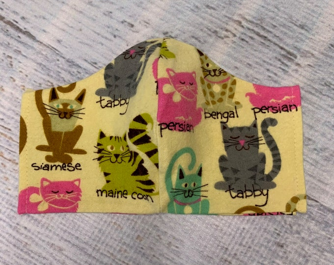 FLANNEL Face Mask Coverings - Cats Cats Cats - 100% Cotton - Washable With Filter Pockets - Nose Wire - Ties or Elastic