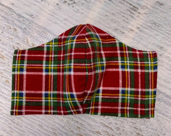 FLANNEL Face Mask Coverings - Christmas Tartan Plaid - 100% Cotton - Washable With Filter Pockets - Nose Wire - Ties or Elastic