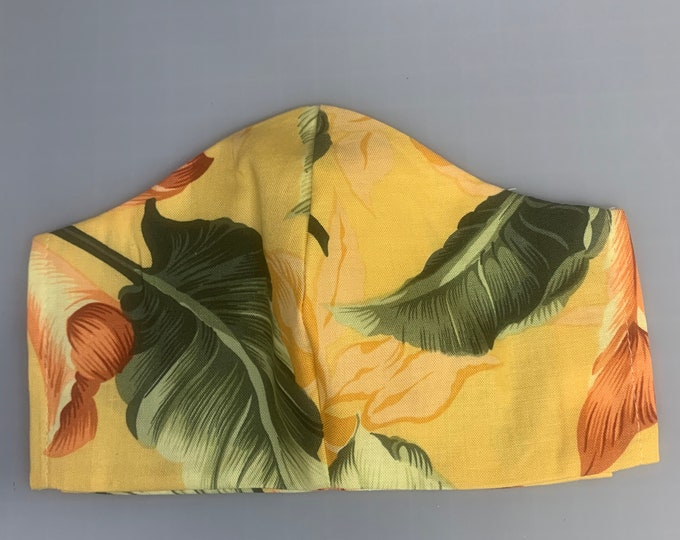 Tropical Leaves - Face Masks - 100% Cotton - Washable With Filter Pockets - Nose Wire