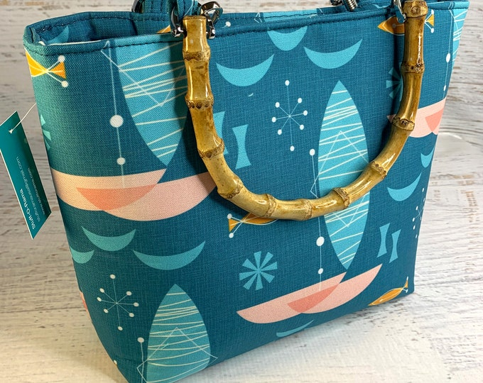 Pink Catamaran - Tote Bag - Purse - Handbag - Crossbody - Canvas - Tiki - MCM - MidCentury - Palm Springs - Mod