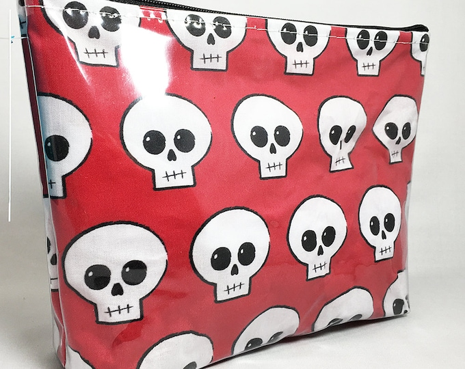 Make Up Bag - Red Skully Zipper Pouch