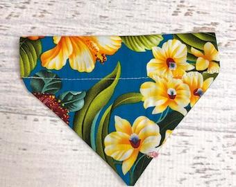 Blue Hawaiian- Dog or Cat Pet Bandanna - Over the Collar - Tropical - Aloha Print - Sizes XS through XL - Dog Accessories - Neckwear