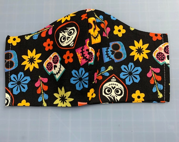 Coco - Face Masks - 100% Cotton - Washable With Filter Pockets - Nose Wire - Ties or Elastic