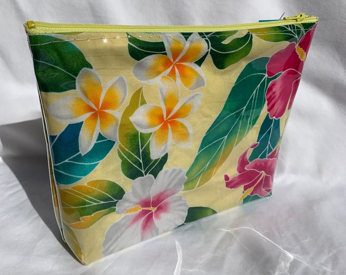 Tropical Flowers - Yellow - Hibiscus Monstera Heliconia - Makeup Bag - Hawaiian Aloha Print