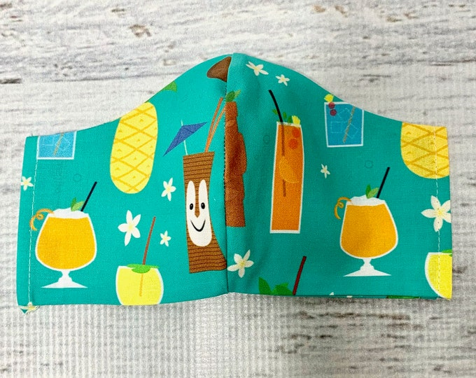 Tiki Bob Tiki Drink Cocktails  - Face Masks - 100% Cotton - Washable With Filter Pockets - Nose Wire - Ties or Elastic