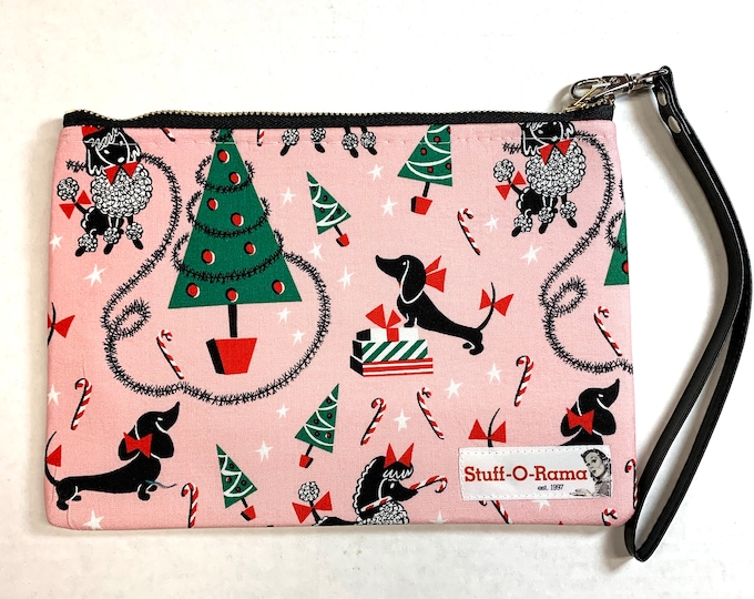 Wristlet Zipper Pouch Clutch Purse - Christmas Poodles and Dachshunds - Dogs