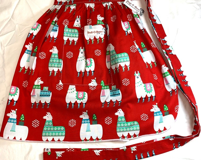 Christmas Holiday Llamas - Half Apron - Vintage Pin Up Skirt Style