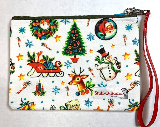 Zipper Pouch Clutch Purse - Retro Mid Century Christmas