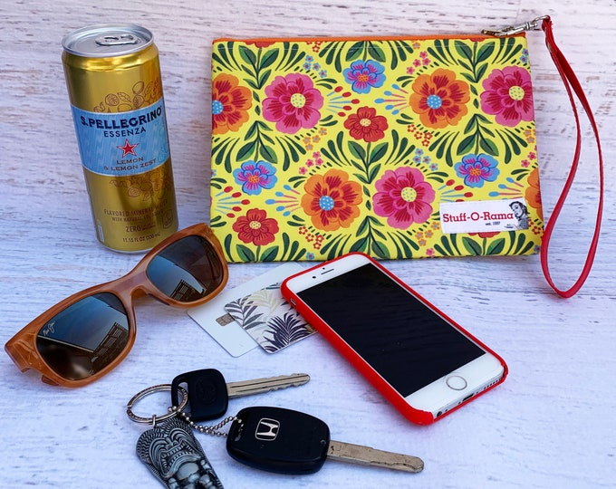 Las Flores de México - Yellow - Clutch Wallet Wristlet