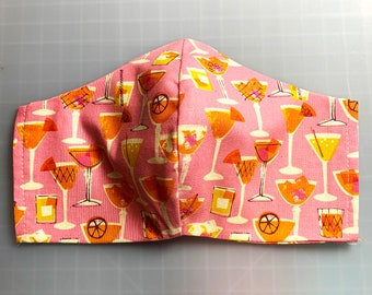 Pink Summer Cocktails and Tiki Drinks - Face Mask Coverings - 100% Cotton - Washable With Filter Pockets - Nose Wire - Ties or Elastic